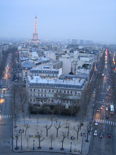 Atardecer desde el Arco de Triunfo en París