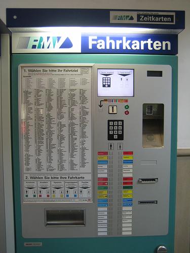 Máquina expendedora de billetes, en Frankfurt
