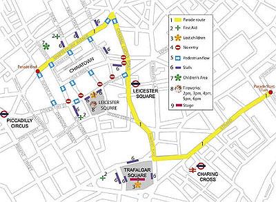 Mapa del desfile en Londres