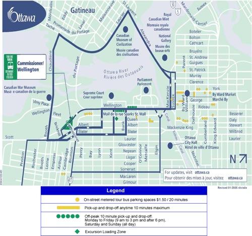 Plano de accesos al Parlamento de Ottawa