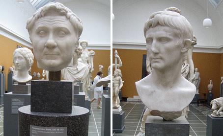 Bustos de Pompeyo y Julio César