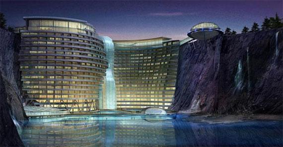 El hotel en la cantera acuática de China