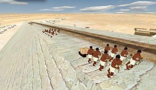 Construcción de la pirámide de Giza. Foto EFE