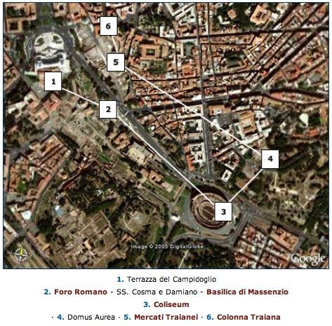 Zona en donde se asienta la Domus Aurea