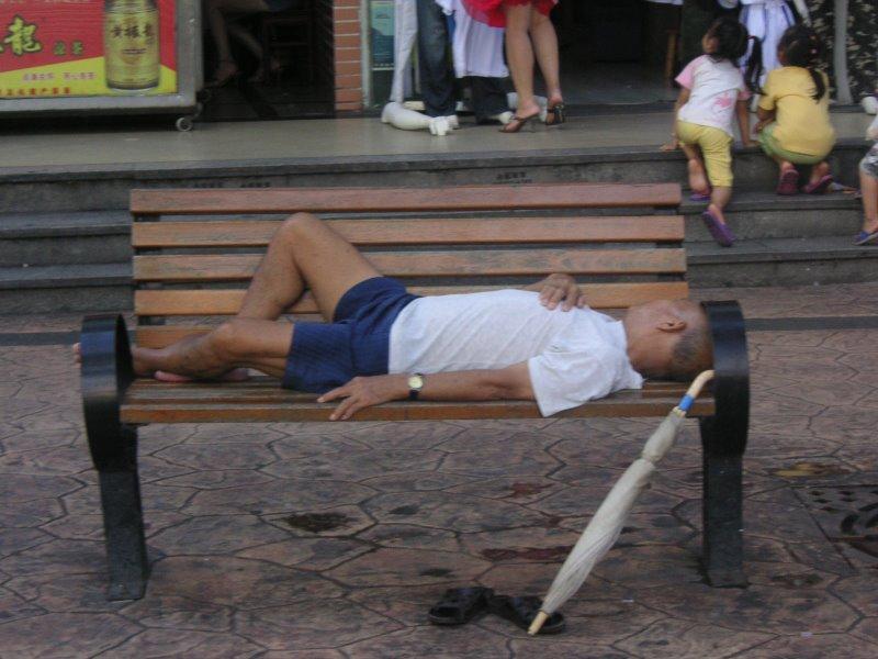 Chino durmiendo en Zhuhai