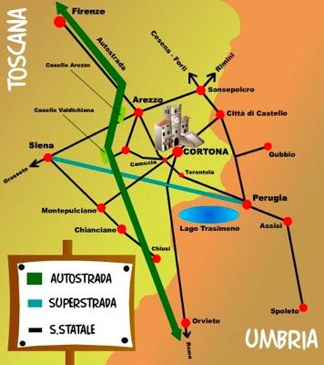 Llegar a Cortona, en la Toscana