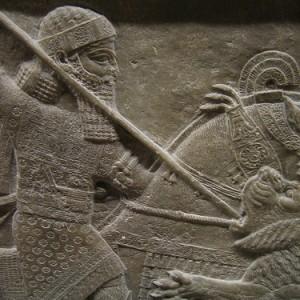 Asurbanipal cazando leones, en el Museo Británico de Londres