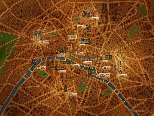 Puntos de interés de París, en formato fondo de pantalla