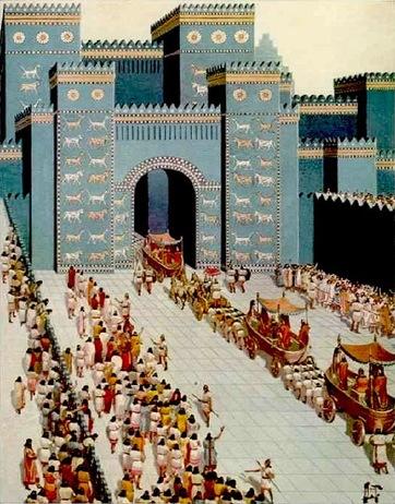 Boceto de cómo eran las procesiones a través de la Puerta de Ishtar, en Babilonia