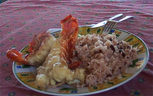 Nuestra comida en Cayo Cochinos