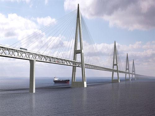 Recreación del puente que cruzará el estrecho de Fehmarn