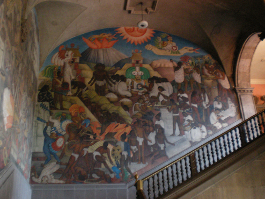 Mural de Diego Rivera sobre Quetzalcoatl en el Palacio Nacional de México DF