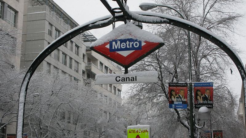 Metro Canal de Madrid nevado