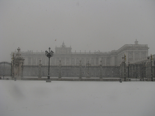 El Palacio Real de Madrid nevado