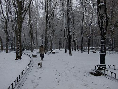 Paseo del Prado de Madrid nevado