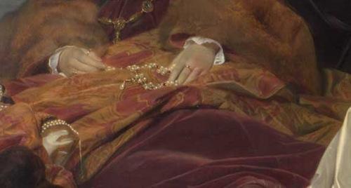 Detalle del cuadro: rosario en las manos de la doncella