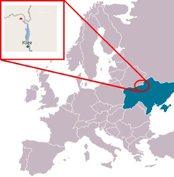 Chernóbil con respecto al mapa de Europa