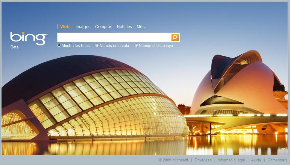 Portada de Bing.com