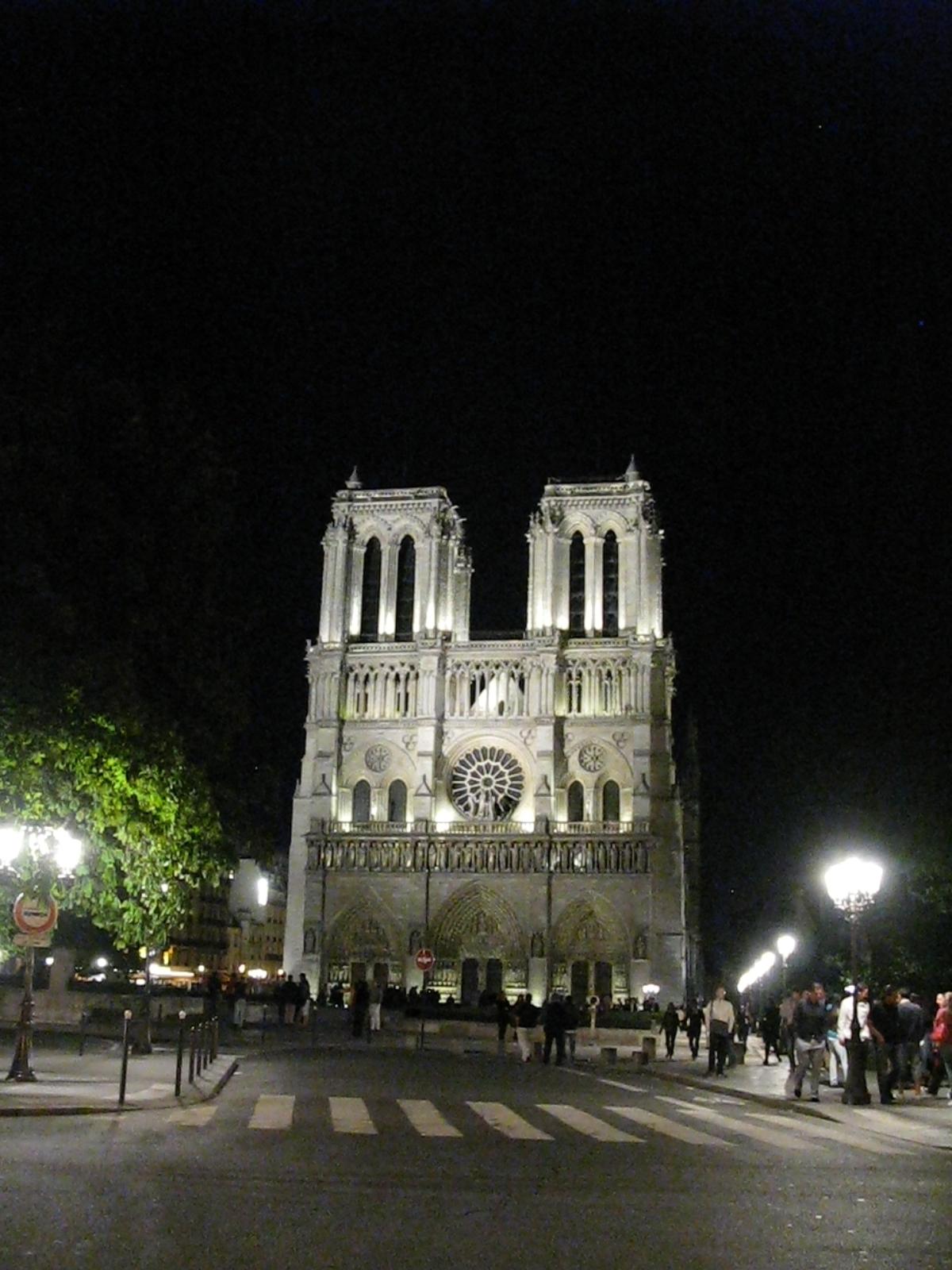 Catedral de Notredamme de París por la noche