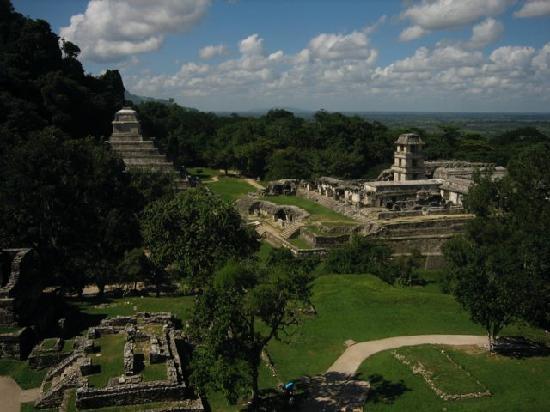 Vista de pájaro de las ruinas de Palenque