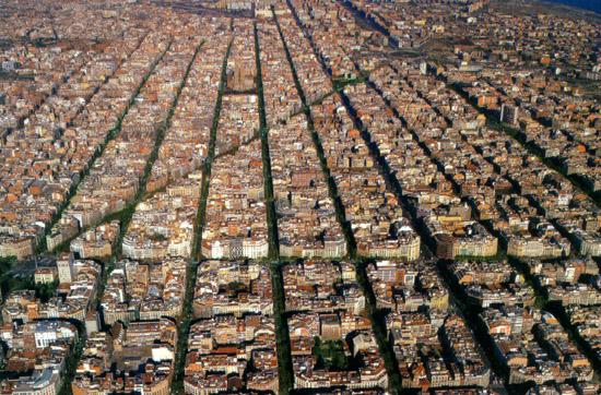 Vista de pájaro del Eixample de Barcelona