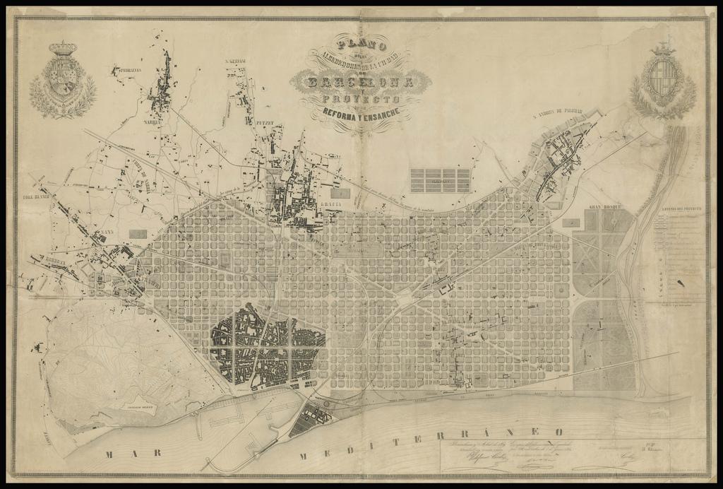 Litografia del plan Cerdà del Eixample de Barcelona