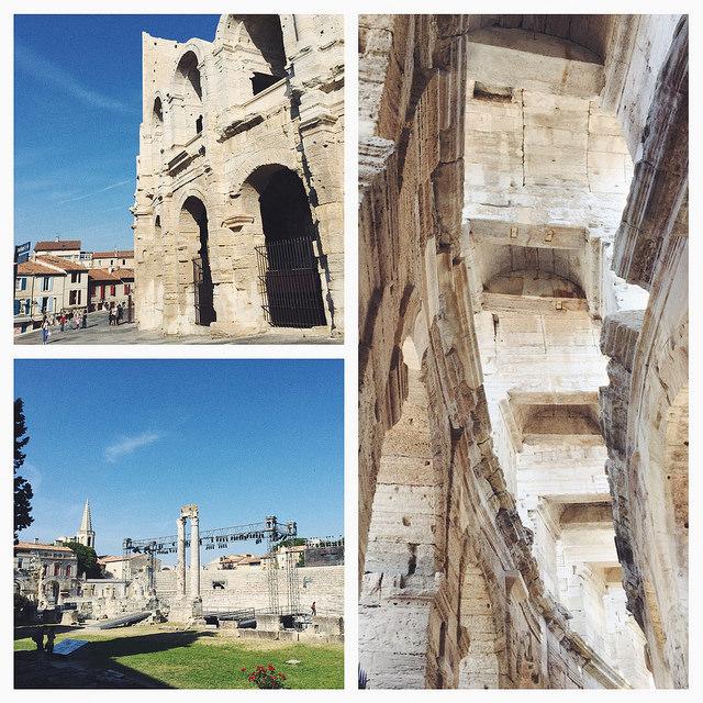 Anfiteatro de Arlés, abajo el teatro romano