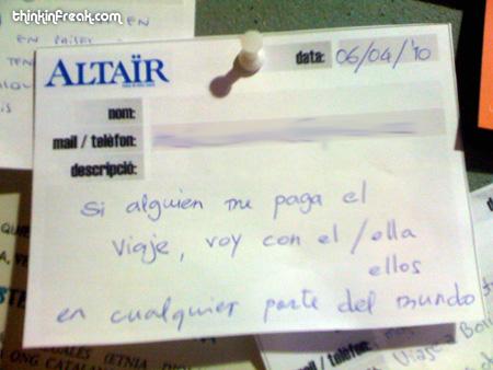 Anuncio del tablón de anuncios de Altaïr