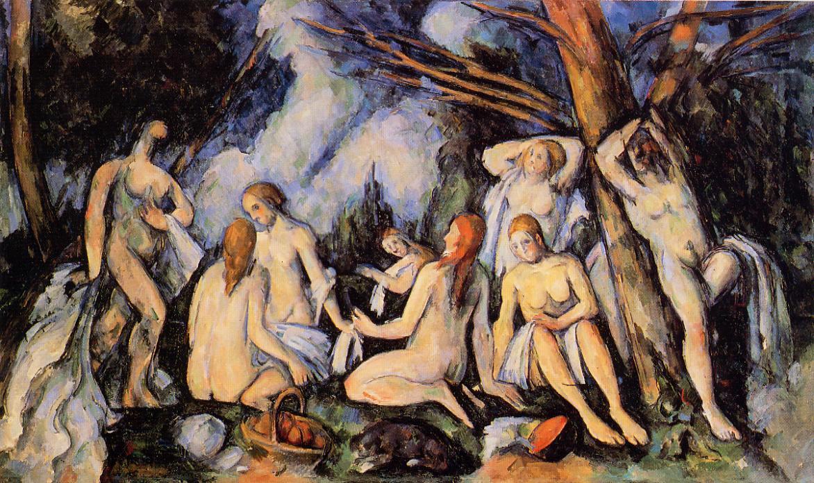 Les grandes baigneuses de Cézanne pintada en su taller
