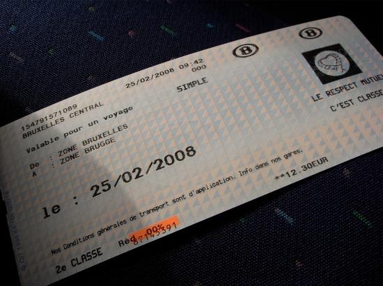 Billete de tren en Bélgica