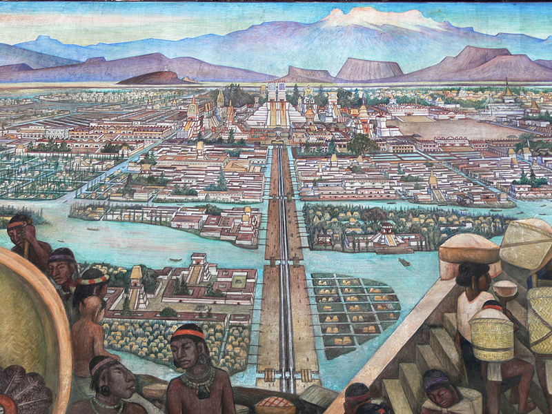 Mural de Diego Rivera imaginando cómo sería el mercado de Tenochtitlán