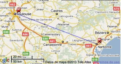 Ruta Toulouse - Narbona en tren