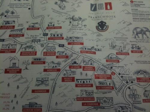 Mapa de las bodegas de Franschoek