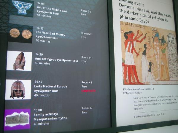 Tablón con los eventos del British Museum