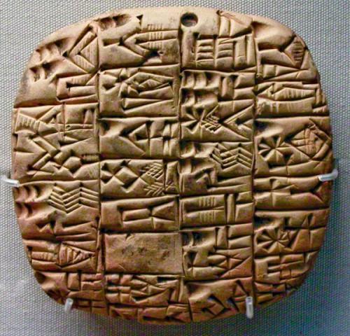 Tablilla cuneiforme de Mesopotamia