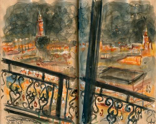 Dibujo de la plaza Djema El Fna de noche