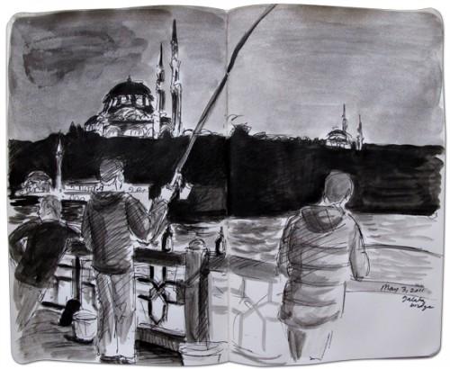 Dibujo de los pescadores del puente de Galatea en Estambul