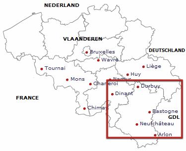 Mapa región de las Ardenas