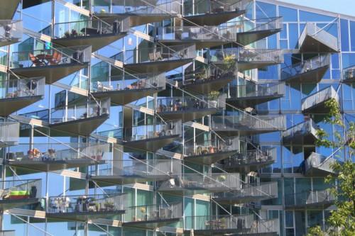 Balcones del edificio VM de Ingels en Copenhagen