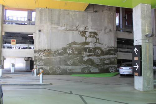 Pintura del parking de la Montaña de Ingels en Copenhagen