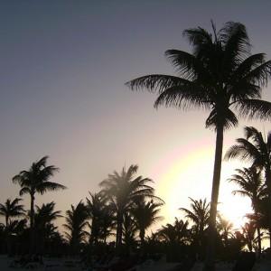 Puesta de sol en la Riviera Maya