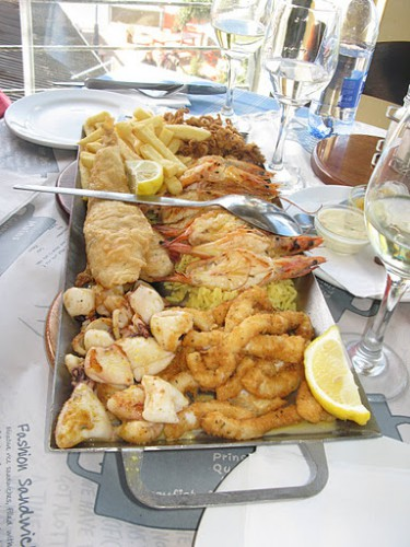 Nuestra comida en el Ocean Basket de Hermanus