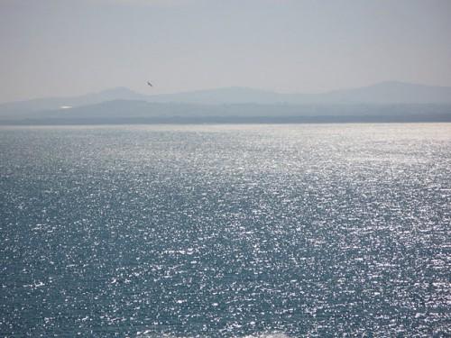 Vista desde la costa de las ballenas en Sudáfrica