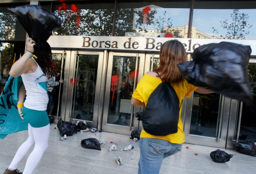 Manifestación en la Bolsa de Barcelona 15O