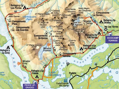 Recorrido del Trekking de la 'W' (Parque Nacional Torres del Paine)