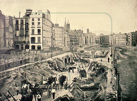 Obras en la Via Laietana en 1911 para hacer pasar el metro