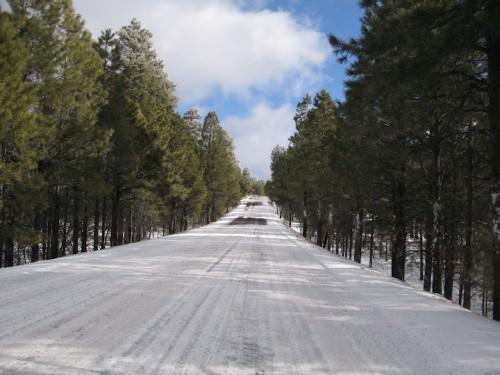 Carretera del Desert View helada