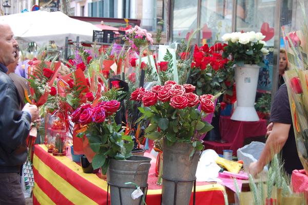 Rosas en Sant Jordi, Rambla de Barcelona