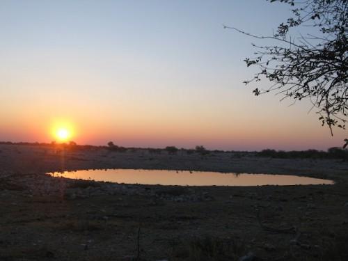 Charca de Okuakuejo en la puesta de sol