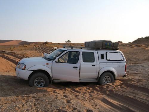 Nuestro jeep atrapado en la arena de Sossusvlei de Namibia